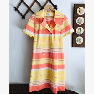 1960s Retro Striped Shirt Day Dress